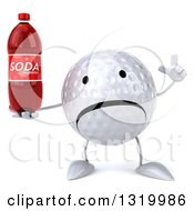 Clipart Of A 3d Unhappy Golf Ball Character Holding Up A Finger And A Soda Bottle Royalty Free Illustration