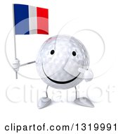 Clipart Of A 3d Happy Golf Ball Character Holding And Pointing To A Rainbow Flag Royalty Free Illustration