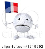 Clipart Of A 3d Unhappy Golf Ball Character Giving A Thumb Down And Holding A Rainbow Flag Royalty Free Illustration
