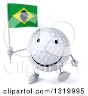 Clipart Of A 3d Happy Golf Ball Character Walking And Holding A Brazilian Flag Royalty Free Illustration