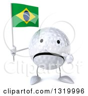 Clipart Of A 3d Unhappy Golf Ball Character Holding And Pointing To A Brazilian Flag Royalty Free Illustration