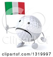 Clipart Of A 3d Unhappy Golf Ball Character Walking To The Left And Holding A Italian Flag Royalty Free Illustration