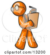 Orange Man Holding A Clipboard While Reviewing Employess Clipart Illustration