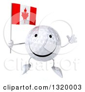Clipart Of A 3d Happy Golf Ball Character Jumping And Holding A Canadian Flag Royalty Free Illustration