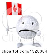 Clipart Of A 3d Unhappy Golf Ball Character Holding And Pointing To A Canadian Flag Royalty Free Illustration