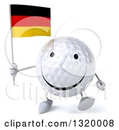 Clipart Of A 3d Happy Golf Ball Character Walking And Holding A German Flag Royalty Free Illustration