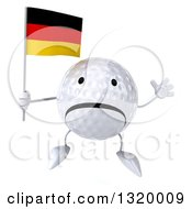 Clipart Of A 3d Unhappy Golf Ball Character Jumping And Holding A German Flag Royalty Free Illustration