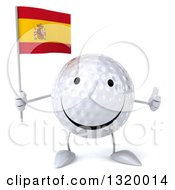 Clipart Of A 3d Happy Golf Ball Character Holding A Spanish Flag And Giving A Thumb Up Royalty Free Illustration