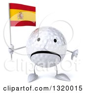 Clipart Of A 3d Unhappy Golf Ball Character Holding A Spanish Flag And Giving A Thumb Down Royalty Free Illustration