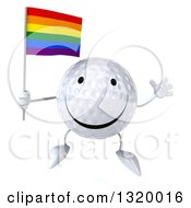 Clipart Of A 3d Happy Golf Ball Character Jumping And Holding A Rainbow Flag Royalty Free Illustration
