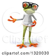 Clipart Of A 3d Bespectacled Green Springer Frog Sailor Presenting And Reading A Book Royalty Free Illustration