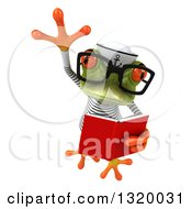 Clipart Of A 3d Bespectacled Green Springer Frog Sailor Leaping And Reading A Book Royalty Free Illustration