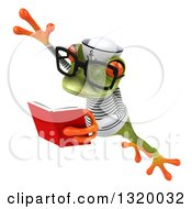 Clipart Of A 3d Bespectacled Green Springer Frog Sailor Leaping To The Left And Reading A Book Royalty Free Illustration