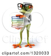 Clipart Of A 3d Bespectacled Green Springer Frog Sailor Facing Slightly Left And Holding A Stack Of Books Royalty Free Illustration