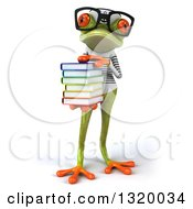 Clipart Of A 3d Bespectacled Green Springer Frog Sailor Holding A Stack Of Books Royalty Free Illustration