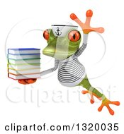Clipart Of A 3d Green Springer Frog Sailor Reacing Leaping To The Left And Reading A Book Royalty Free Illustration by Julos