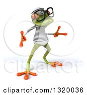 Clipart Of A 3d Bespectacled Green Springer Frog Sailor In A Dance Pose 3 Royalty Free Illustration