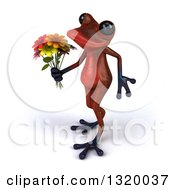 Clipart Of A 3d Red Springer Frog Walking To The Left And Holding A Flower Bouquet Royalty Free Illustration