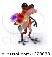 Clipart Of A 3d Red Springer Frog Walking To The Right And Holding A Flower Bouquet Royalty Free Illustration