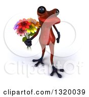 Clipart Of A 3d Red Springer Frog Holding Up A Flower Bouquet Royalty Free Illustration
