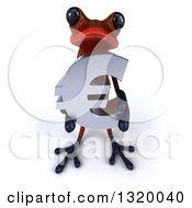 Clipart Of A 3d Red Springer Frog Holding Up A Euro Symbol Royalty Free Illustration