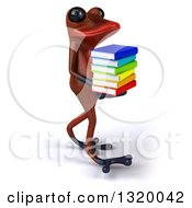 Clipart Of A 3d Red Springer Frog Walking To The Right And Holding A Stack Of Books Royalty Free Illustration
