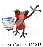 Clipart Of A 3d Red Springer Frog Leaping And Holding A Stack Of Books Royalty Free Illustration by Julos