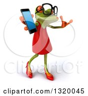Clipart Of A 3d Bespectacled Green Female Springer Frog Facing Right Walking Gesturing Call Me And Holding A Smart Cell Phone Royalty Free Illustration by Julos