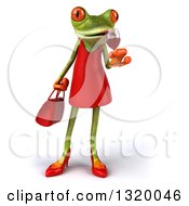 Clipart Of A 3d Green Female Springer Frog Sipping A Glass Of Red Wine Royalty Free Illustration