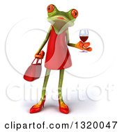 Clipart Of A 3d Green Female Springer Frog Holding A Glass Of Red Wine Royalty Free Illustration by Julos