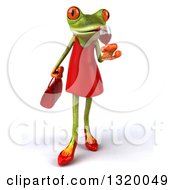 Clipart Of A 3d Green Female Springer Frog Walking And Sipping A Glass Of Red Wine Royalty Free Illustration
