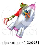 Clipart Of A 3d Green Female Frog Riding A Rocket 2 Royalty Free Illustration