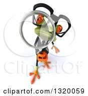 Clipart Of A 3d Bespectacled Green Business Springer Frog Looking Up Through A Magnifying Glass Royalty Free Illustration