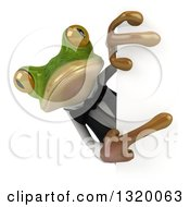 Clipart Of A 3d French Waiter Frog Pointing Around A Sign Royalty Free Illustration by Julos