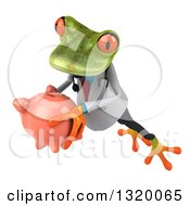 Clipart Of A 3d Green Doctor Springer Frog Leaping To The Left And Holding A Piggy Bank 2 Royalty Free Illustration