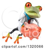 Clipart Of A 3d Green Doctor Springer Frog Leaping To The Right And Holding A Piggy Bank Royalty Free Illustration
