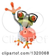 Clipart Of A 3d Bespectacled Green Doctor Springer Frog Leaping And Holding A Piggy Bank Royalty Free Illustration