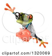 Clipart Of A 3d Bespectacled Green Doctor Springer Frog Leaping To The Left And Holding A Piggy Bank Royalty Free Illustration