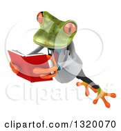 Clipart Of A 3d Green Doctor Springer Frog Jumping To The Left And Reading A Book Royalty Free Illustration