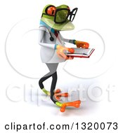 Clipart Of A 3d Bespectacled Green Doctor Springer Frog Walking To The Right And Reading A Book Royalty Free Illustration
