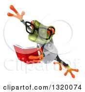 Clipart Of A 3d Bespectacled Green Doctor Springer Frog Leaping To The Left And Reading A Book Royalty Free Illustration