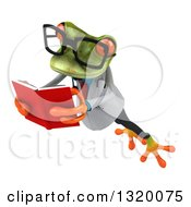 Clipart Of A 3d Bespectacled Green Doctor Springer Frog Leaping To The Left And Reading A Book 2 Royalty Free Illustration
