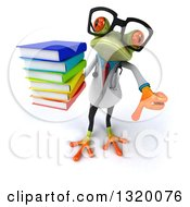 Clipart Of A 3d Bespectacled Green Doctor Springer Frog Holding Up A Thumb Down And A Stack Of Books Royalty Free Illustration