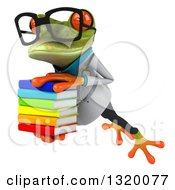Clipart Of A 3d Bespectacled Green Doctor Springer Frog Leaping To The Left And Holding A Stack Of Books Royalty Free Illustration
