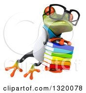 Clipart Of A 3d Bespectacled Green Doctor Springer Frog Leaping To The Right And Holding A Stack Of Books Royalty Free Illustration