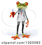 Clipart Of A 3d Green Doctor Springer Frog Holding Blood In A Test Tube Royalty Free Illustration