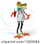 Clipart Of A 3d Green Doctor Springer Frog Facing Right Presenting And Holding Blood In A Test Tube Royalty Free Illustration