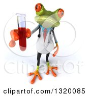 Clipart Of A 3d Green Doctor Springer Frog Holding Up Blood In A Test Tube Royalty Free Illustration
