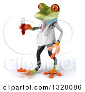 Clipart Of A 3d Green Doctor Springer Frog Walking To The Left And Holding Blood In A Test Tube Royalty Free Illustration