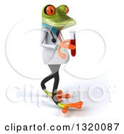 Clipart Of A 3d Green Doctor Springer Frog Walking To The Right And Holding Blood In A Test Tube Royalty Free Illustration